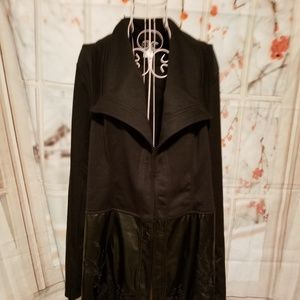 NWOT Venus Black Jacket with Faux Leather Bottom